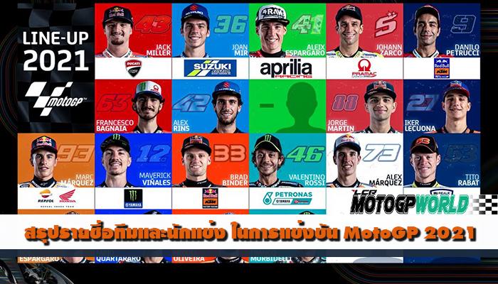 สรุปรายชื่อทีมและนักแข่ง ในการแข่งขัน MotoGP 2021
